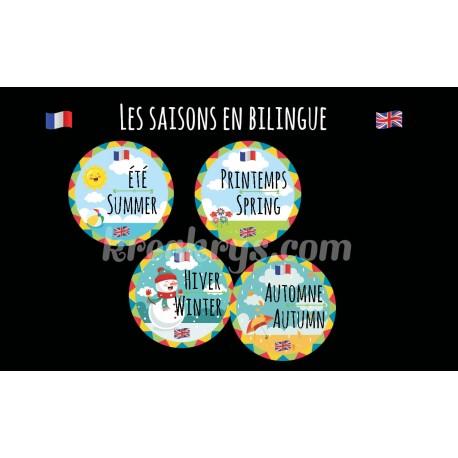 """Badge 25 mm Magnet Routine collection """"mon calendrier bilingue"""" : la météo"""