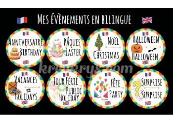 """Badge 25 mm Magnet Routine collection """"mon calendrier bilingue"""" : les évènements"""