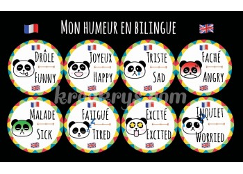 "Badge 25 mm Magnet Routine collection ""mon calendrier bilingue"" : l'humeur"