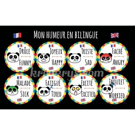 """Badge 25 mm Magnet Routine collection """"mon calendrier bilingue"""" : l'humeur"""