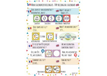 "Badge 25 mm Magnet Routine collection ""mon calendrier bilingue"" : collection complète"