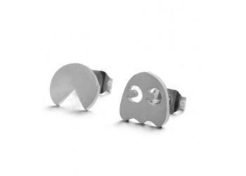 Boucles d'oreilles puce acier inoxydable Pacman et Fantôme