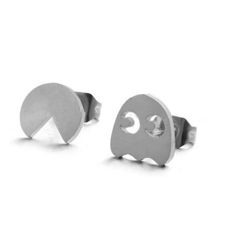 Boucles d'oreilles acier inoxydable Pacman et Fantôme
