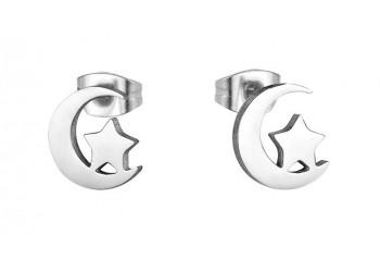 Boucles d'oreilles puce acier inoxydable Lune étoile