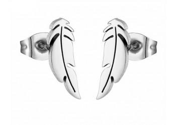 Boucles d'oreilles puce acier inoxydable Plumes
