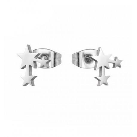 Boucles d'oreilles acier inoxydable Triple étoiles