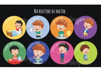 "Badge 25 mm Magnet collection ""Ma routine"" : lot ma routine du matin-Garçon"