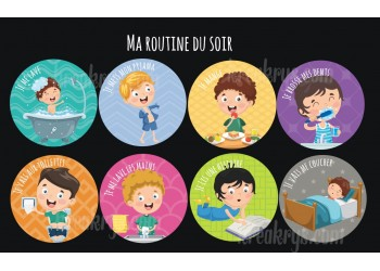 "Badge 25 mm Magnet collection ""Ma routine"" : lot ma routine du soir-Garçon"