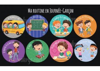 """Badge 25 mm Magnet collection """"Ma routine"""" : lot ma routine de la journée-Garçon"""