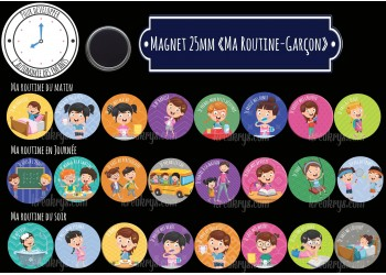 """Badge 25 mm Magnet collection """"Ma routine-Fille"""" : matin + journée + soir"""