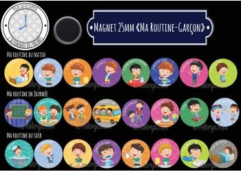 "Badge 25 mm Magnet collection ""Ma routine-Garçon"" : matin + journée + soir"
