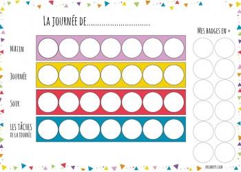 """NOUVEAU Tableau """"Ma routine- journée"""" motifs triangles"""