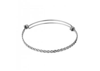 Bracelet manchette extensible effet tressé en acier inoxydable