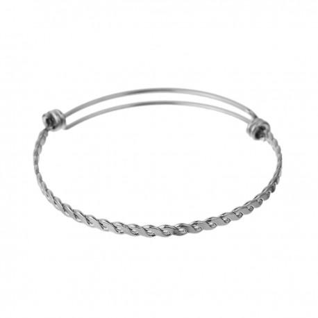 Bracelet extensible rond double noeuds en acier inoxydable