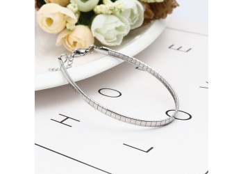 Bracelet chaîne maille serpent rectangle en acier inoxydable argenté ou doré