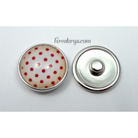 Bijou bouton pression Pois rouges