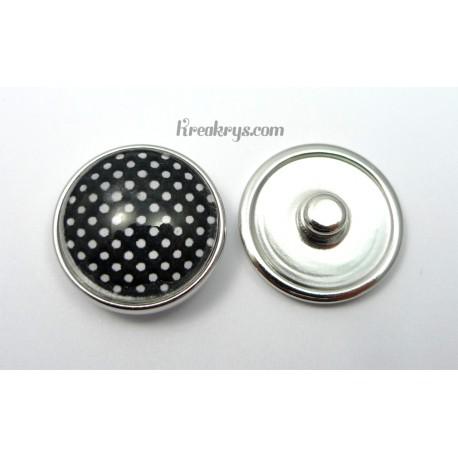 Bijou bouton pression Pois blancs fond noir