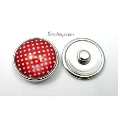 Bijou bouton pression Pois blancs fond rouge