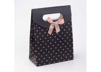 Pochette Cadeau Noir pois doré