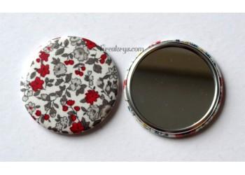 Badge 58 mm Miroir de poche avec tissu Fleuri rouge/gris/blanc