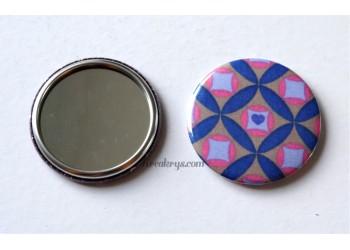 Badge 58 mm Miroir de poche avec tissu Géométrique Bleu/Rose/Taupe