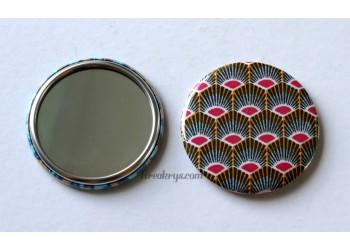 Badge 58 mm Miroir de poche avec tissu géométrique plume de paon