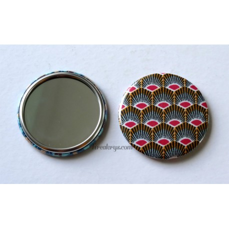 Badge 58mm Miroir de Poche tissu géométrique plume de paon