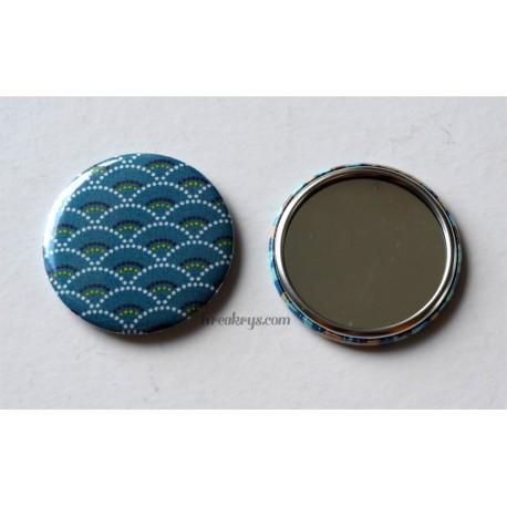 Badge 58mm Miroir de Poche tissu seigaiha bleu canard