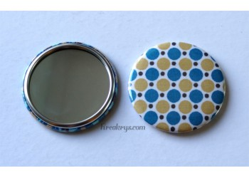 Badge 58 mm Miroir de poche avec tissu pois moutarde et bleu canard