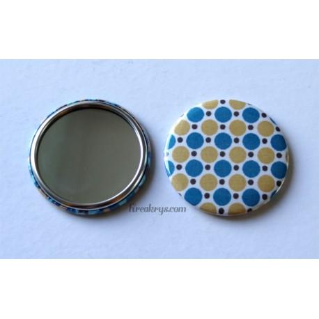 Badge 58mm Miroir de Poche tissu pois moutarde et bleu canard