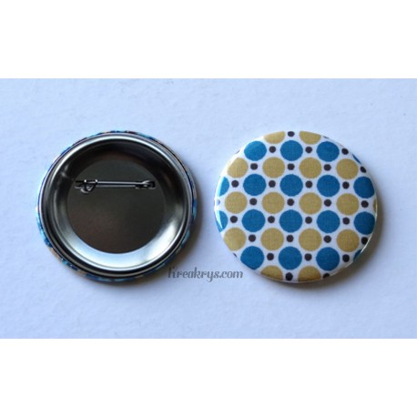 Badge 58mm Broche épingle tissu pois moutarde et bleu canard