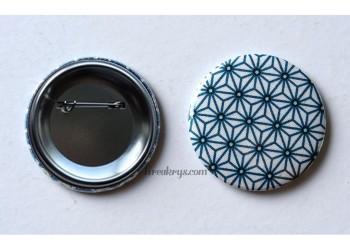 Badge 58 mm Broche épingle avec tissu Asanoha