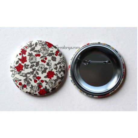 Badge 58mm Broche épingle Tissu fleuri rouge/gris/blanc