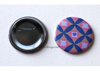 Badge 58 mm Broche épingle avec tissu Géométrique Bleu/Rose/Taupe
