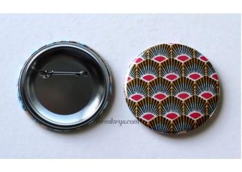 Badge 58 mm Broche épingle avec tissu géométrique plume de paon