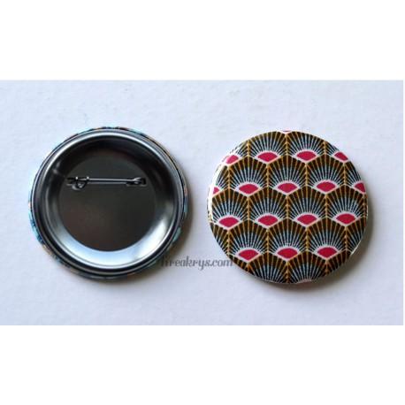Badge 58mm Broche épingle tissu géométrique plume de paon