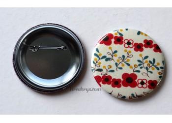 Badge 58 mm Broche épingle avec tissu Fleur rouge et fleur jaune et bleu canard