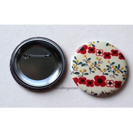 Badge 58mm Broche épingle tissu Fleur rouge et fleur jaune et bleu canard