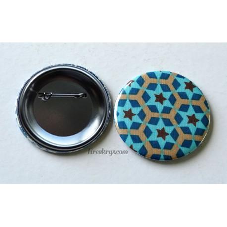 Badge 58mm Broche épingle tissu géométrique etoilé bleu et marron
