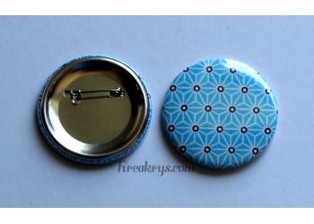 Badge 58 mm Broche épingle avec tissu Asanoha turquoise