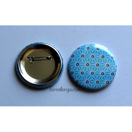 Badge 58mm Broche épingle Tissu Asanoha blanc sur fond turquoise
