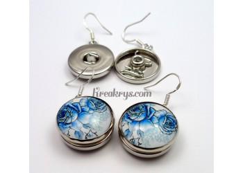 Boucle d'oreille pression métal, couleur argent, attache en argent