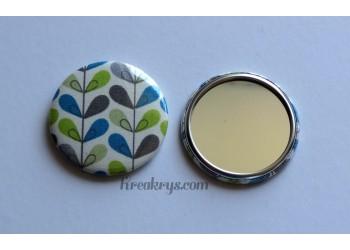 Badge 58 mm Miroir de poche avec tissu effet blé coloré