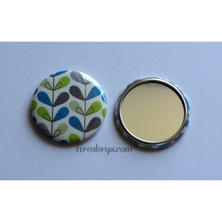 Badge 58mm Miroir de Poche tissu effet blé coloré
