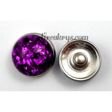Bouton pression résine dôme violet