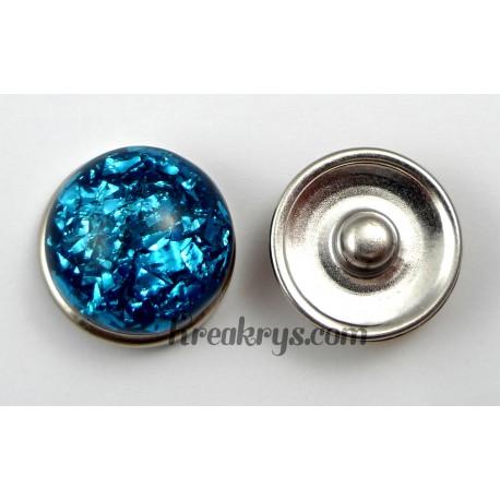 Bouton pression résine dôme turquoise