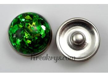 Bouton pression résine dôme vert