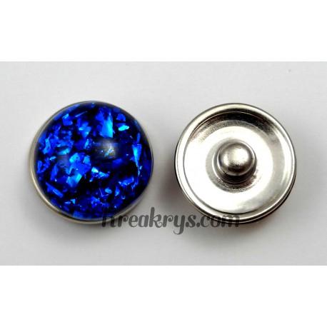 Bouton pression résine dôme bleu