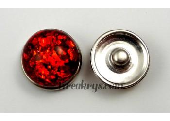 Bouton pression résine dôme rouge
