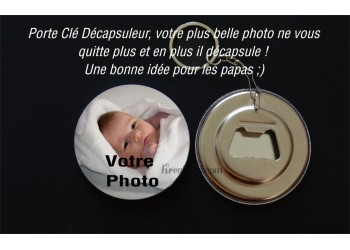 Badge 58mm Porte Cle Décapsuleur à personnaliser